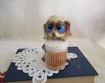 Dog with Trash can Salt and  Pepper shakers  Big eyed dog