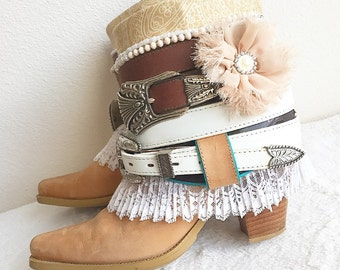 Upcycled Cowboy Boots, Vintage Bohemian Boots, Re Worked Boho Boots, Gypsy Boots, Boho Chic Boots, Festival Boots