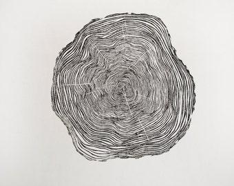 Wood Grain - Original Hand-pulled Linocut Print
