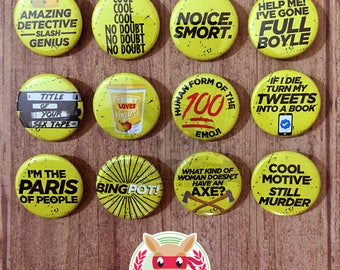 Brooklyn Nine Nine inspired buttons - pinback or magnets     99 jake peralta amy santiago charles boyle terry ray holt television funny