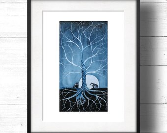 The Badgers - Giclée Print by Sam Cannon - Badgers under a tree with a twilight moon-lit starry sky with words of compassion