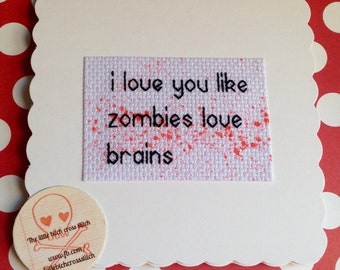 Zombie Love Card, Zombie Lovers Card, Love You Card, Alternative Love Card, Horror Love Card, Anniversary Card, Alternative Anniversary Card