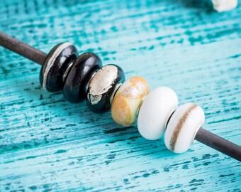 Black white beads_large hole_monochrome bead set_European style bracelet_artisan lampwork_set of 3_minimalist striped pattern_murano glass