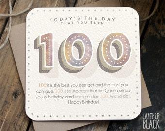 Funny 100th Birthday Card / 100th birthday / 100 birthday / grandma birthday / grandpa birthday / NN100