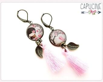 Kokeshi earrings - Chandelier earrings - Tassel earrings - Glass dome kokeshi earrings