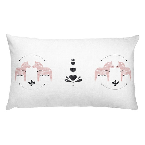 Dala Horse Watercolor Rectangular Pillow