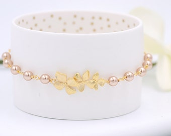 Bridal Bracelet Bridesmaid Bracelet  Rose Gold Orchid Flower Swarovski Rose Gold Pearl Bracelet Gold Wedding Bracelet Flower Girl Bracelet