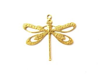 Brass Dragonfly Charms (4X) (M808)