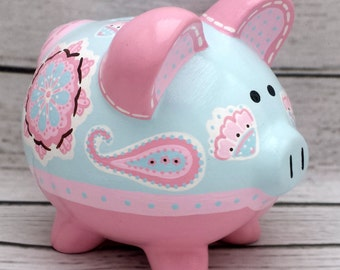 Brooklyn Medallion and Paisley Personalized Piggy Bank in Pink and Blue
