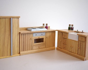 Handmade by M for Miniatures Dollhouse miniature kitchen cabinet dolls house 3 piece set 1:12th scale dollhouse miniature furniture