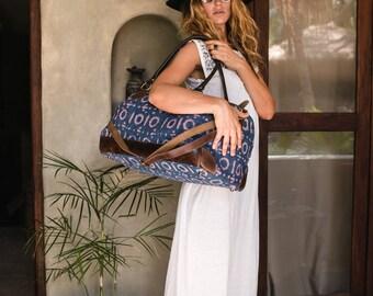 Tribal Weekender Bag, Womens Travel Bag, Duffle Bag, Large Bag, Boho Bag, Embroidery Bag, Weekend Bag, Carry On Bag