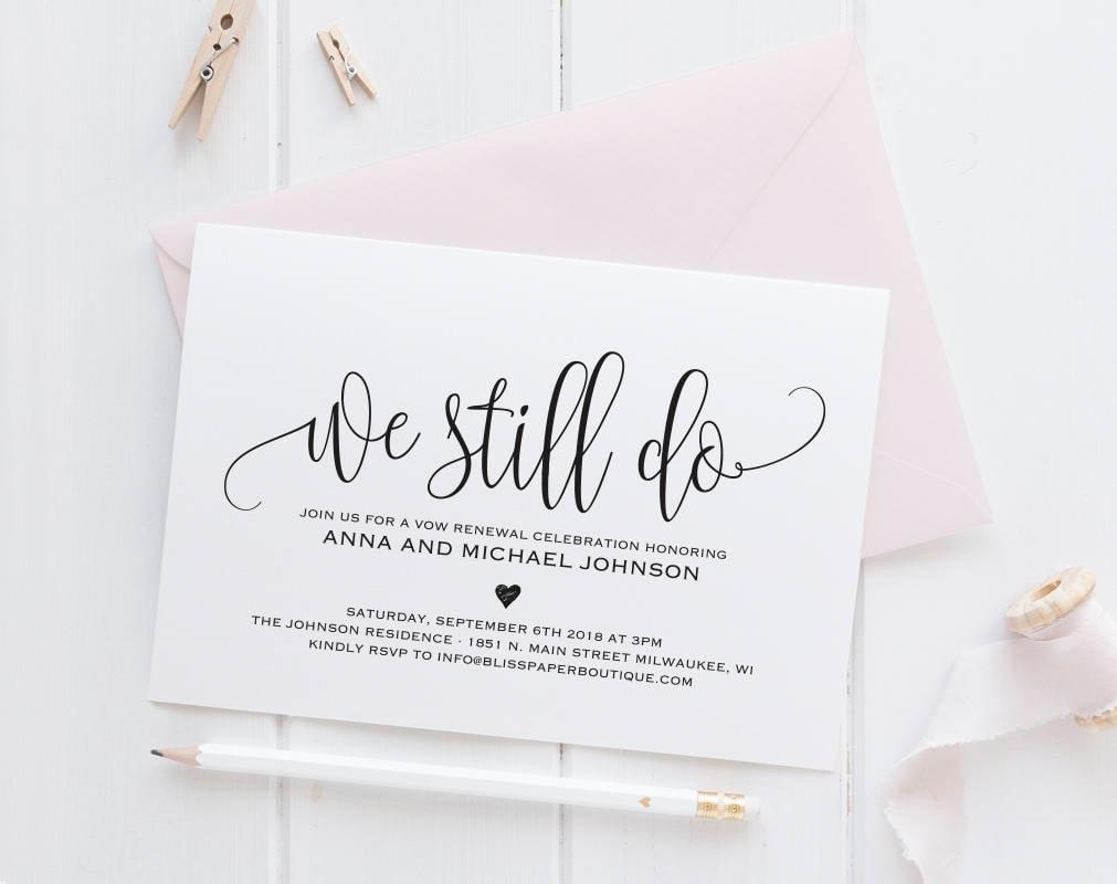 Wedding Vow Renewal Invitation Wording Samples: Vow Renewal Invitation Vow Renewal Invite We Still Do