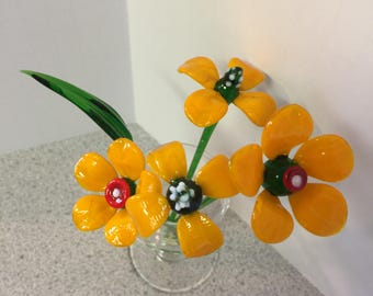 Global Village Orange Glass Flowers  with Vase Collectible