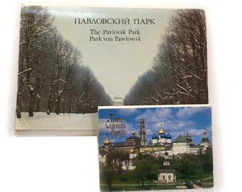 24 Vintage Russian Postcards / Pavlovsk Park 24 Cards 10 x 8 In Russian English German  / 1984 & Russian Postcards - Russian Memorabilia