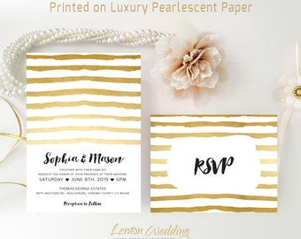 Modern wedding Invitations printed on white shimmer cardstock| Striped wedding invitations with RSVP cards | Gold wedding invitations