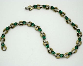 Vintage MAZER 1940s Emerald Clear Crystal Rhinestone Choker Necklace