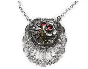 Steampunk Jewelry Necklace PATTERN Watch Silver Scallop ROSE, RED Crystals Wedding Anniversary, Wife Girlfriend Gift - Jewelry by edmdesigns
