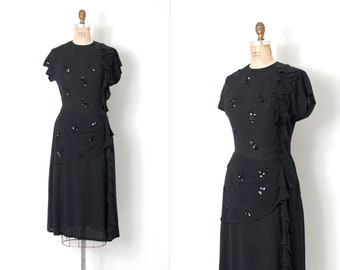 vintage 1940s dress / 40s black rayon ruffle dress / sequin flowers (small s)