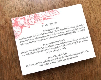 Printable Wedding Information Card - Pink Botanicals - Printable Wedding Info Card - Directions - Hotel Information - Editable PDF