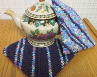 Crochet Potholders Purple and Multicolor Variegated - Set of 2 Potholders/Trivet