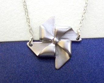 Pinwheel Necklace, Silver Pinwheel Charm Necklace, Dainty Pinwheel Necklace, Windmill Necklace
