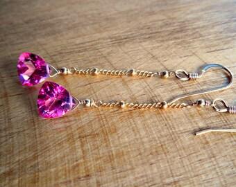 Pink Topaz Bridal Earrings | Pink Wedding Jewelry | Bridesmaid Earrings | 14k Goldfill | Gift For Bride | Bridal Shower Gift | Flower Girl