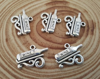 5 Antiqued Silver Wine Bottle Charms | Wine Bottle On A Shelf | Double Sided Charm | Vino Charm
