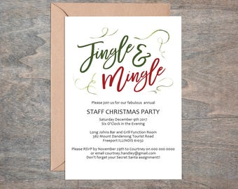 Christmas Invitation, Printable Christmas Jingle and Mingle Invitation Template, Christmas Party Invite, Instant Download, WLP497