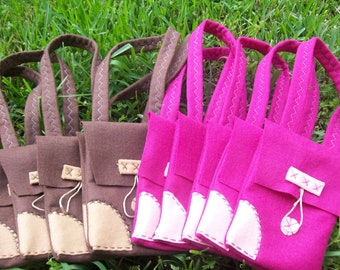 FLYNN SATCHEL BAGS/ Rapunzel party/ Felt party bags/ Set of 12 party favor/ tangled supplies