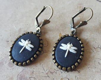 Dragonflies gems earrings ~ bronze ~.