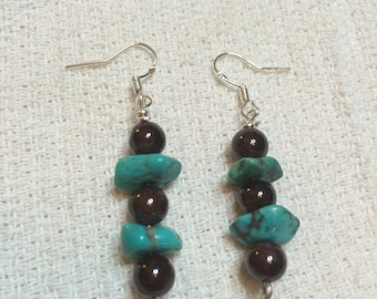Garnet, tourquise and sterling silver earrings
