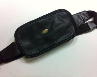 Vintage Black Genuine Leather Waist Bag Fanny Pack Bum Bag Hip Bag Belt Pouch Made in India