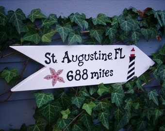 PERSONALIZED CITY SIGN, Destination Sign, Directional Arrow, Yard Art, Custom Sign with Art, Custom Sign, City Sign, Unique Gift idea