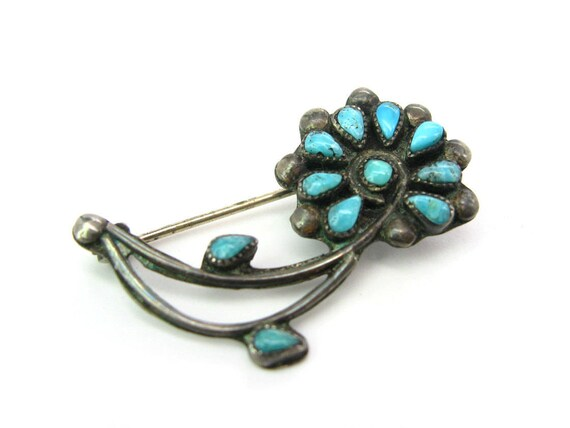 Vintage Zuni Petit Point Turquoise Desert Flower Brooch