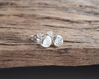 Silver stud earrings, recycled sterling silver studs, handmade stud earrings, silver studs