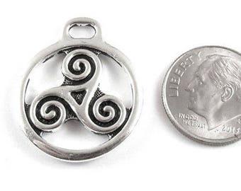 TierraCast Pewter Pendant-Silver Large Open Triskele (1 Piece)