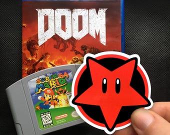 AdvinSINbility Star Sticker - Super Mario / Doom Mashup Pentagram Sticker -  Sticker Decal - FREE US SHIPPING