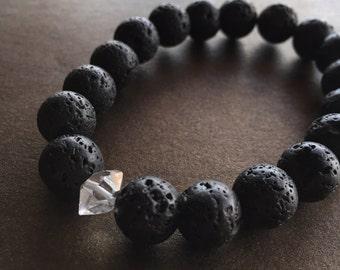 Black Lava and Herkimer Diamond Bracelet