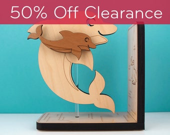 Wood Nursery Animal Bookend: Ocean Dolphin Baby, Kids Wooden Under the Sea, Underwater, Nautical Room Decor