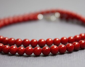 Red Bamboo Coral Necklace, Coral Necklaces, Red Single Strand Necklace, Red Beaded Necklace, Kathy Bankston, Coral Jewelry,4mm Bead Necklace