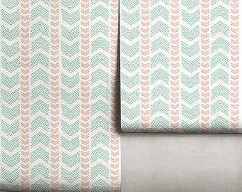Directions // White Mint & Coral  • Easy to Apply Removable Peel 'n Stick Wallpaper