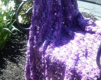 Hand Crocheted Afghan Throw Blanket in Verigated Purple Tones