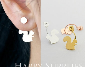 Last - 50% OFF- 20 pcs Squirrel Ear Studs Back Stoppers - Ear Jackets Golden / Silver / Rose Gold Brass Ear Cuffs Front Back Earrings (BE07)