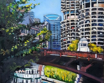 Original Plein Air Painting of Chicago River Architecture Tour -18x14in