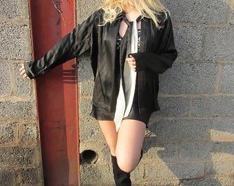 antique Harrods black opera coat short evening jacket silk drama