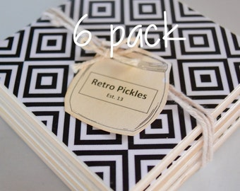 Ceramic Tile Coasters - Black & White Aztec 048 6 pack
