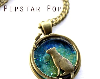 Cat and Mouse Galaxy Glass Pendant Necklace (Eternal Game) Geekery Bronze Neo Classical Jewelry for cat lovers,cosplayers,fantasy larp