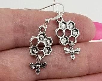 Bee Earrings, Honeycomb Earrings, Bee and Honeycomb Earrings, Bumble Bee Earrings, Honey Bee Earrings, Bee Jewelry, Dainty Bee Earrings