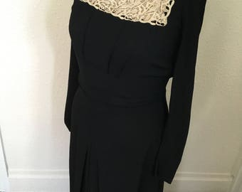 1940's Vintage Black Crepe/Lace with Crystal Maxi Dress