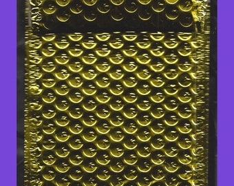 ON SALE Shiny GOLD Metallic Poly Bubble Mailer Envelopes 4-1/2 x 7-1/2 Self Adhesive Set 5 Limited